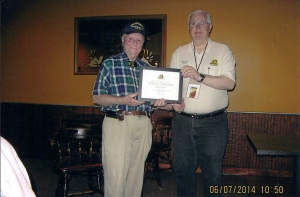 Certificate of Appreciation to Val Erwin W6PUT