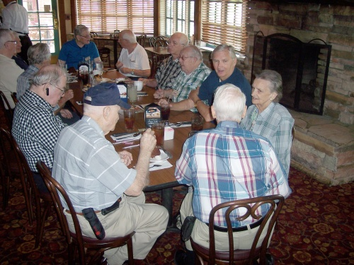 Another view of QCWA Chapter 41 members conversing at Mimi's Cafe in Allen, Texas.